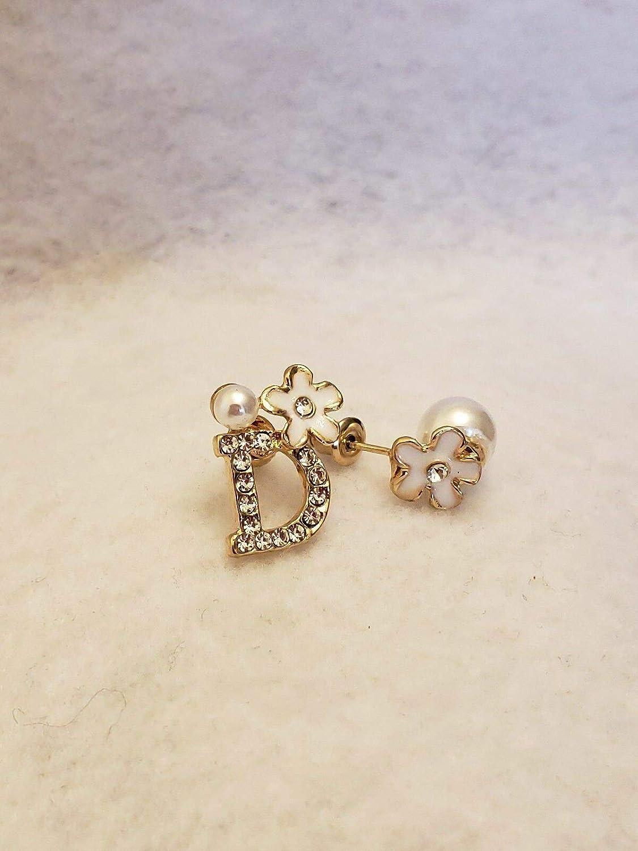 Korean Style Gold D Letter Flower Pearl Cubic Zirconia Stud Earrings