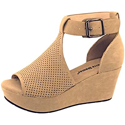 Pierre Dumas Natural-4 Women's Cutout Open-Toe Ankle Strap Platform Wedge Sandals | Platforms & Wedges