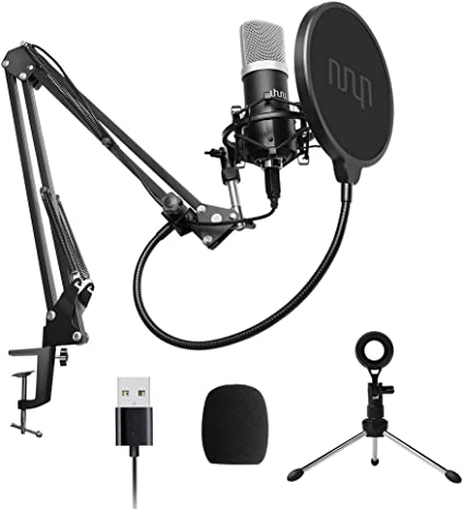 USB Desktop Wired Studio Speech Microphone Mikrofon for PC Laptop Mac Weiß Mic