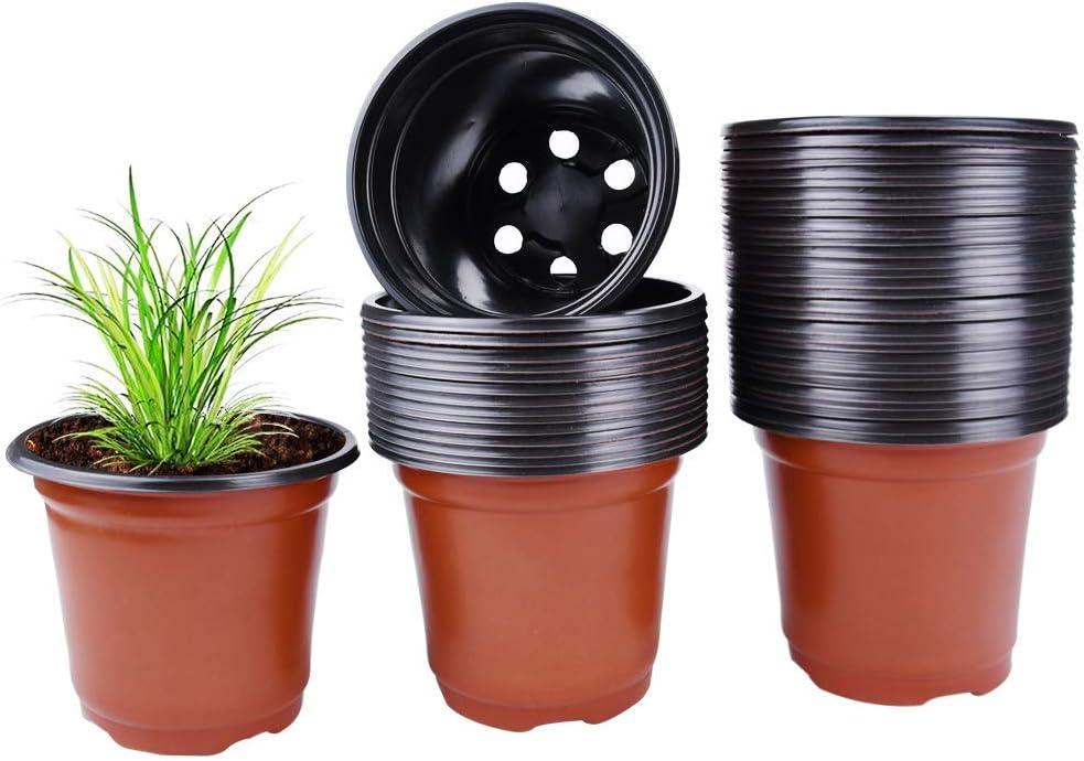 50PCS Plastic Plant Flower Pots Nursery Garden Seedlings Starting Pot Container