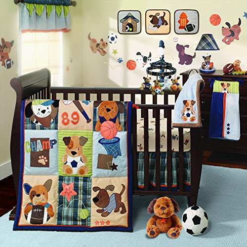 Lambs & Ivy Bow Wow Buddies 9-Piece Crib Bedding Set – Boy/Sports/Dog/Puppy