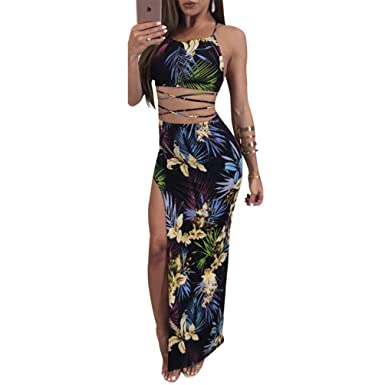 Yuncai Fashion Sexy Womens Tank Top Digital Printed Skirt Nightclub 2 Piece Clothes Set As Picture