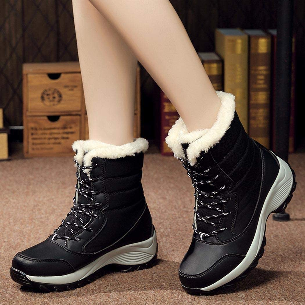ODlover Women Autumn and Casual Snow Boots Outdoor Waterproof Warm Shoe Snow Boots