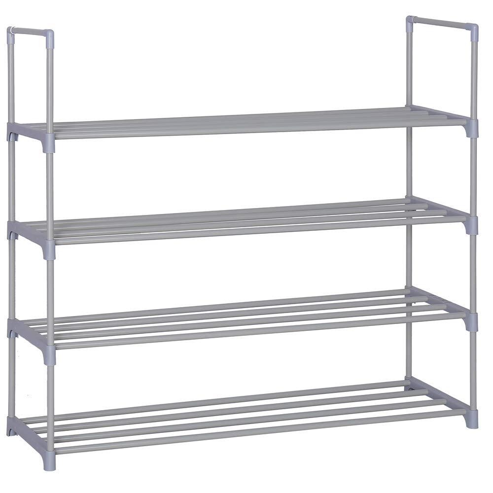 Home-Like 4-Tier Shoe Rack DIY Shoe Rack Tower Metal Storage Rack 20 Pairs Shoes Organizer Stackable Shoe Shelves Metal Shoe Stand in Black for Entryway Closet 35.6''W x 12''D x 33.27''H (Grey)