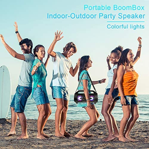 Portable Bluetooth Speakers, 30W Loud Outdoor Speakers with Subwoofer, FM Radio, RGB Colorful Lights, EQ, Stereo Sound, 10H Playtime Boombox Wireless Speaker for Home, Party, Camping, Travel 61GCM9j4nTL