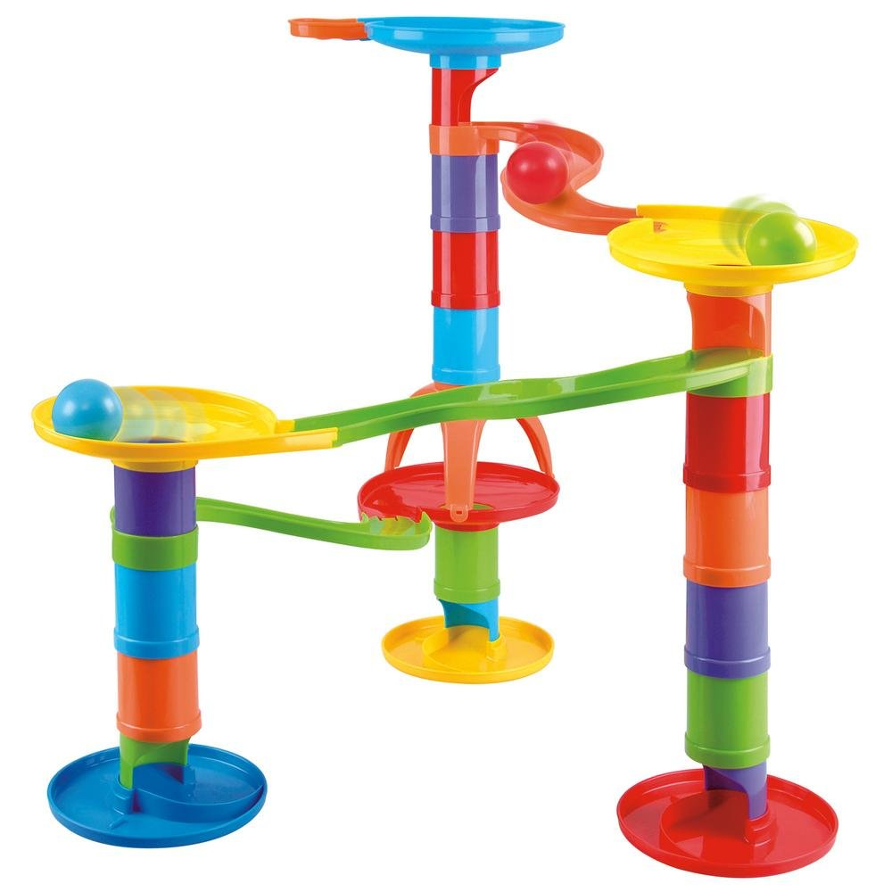 KidSource Junior Marble Race Toy Beginner Marble Run Construction Set Design Build and Race with Over 30 Pieces for Kids Ages 18 Months Old and Up