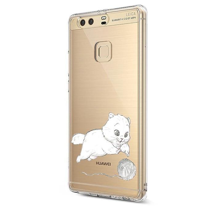 Beryerbi Funda Huawei P9, TPU Funda Patrones Transparente Silicona Funda Carcasa Anti Rasguños Choque Bumper
