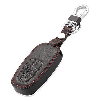 Happyit Cuero Llave del Coche Caso de la Cubierta para Audi A6L A5 A7 A8L Q5 S5 S6 S4 Q7 3 Botones Teclas Inteligentes Llavero Accesorios