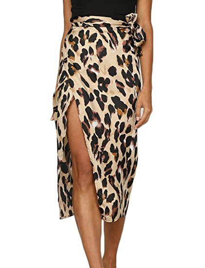 3e45b5d192 Teetyesy Women's Sexy Leopard Print High Waist Belted Skirt Side Split Slim  Fit Midi Skirt at Amazon Women's Clothing store: