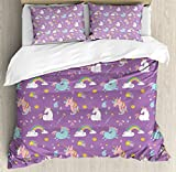 Magical Duvet Cover Set by Ambesonne, Unicorn and Rainbows Diamonds Wand Pattern Nursery Baby Girl Legendary Creature Print, 3 Piece Bedding Set with Pillow Shams, Queen / Full, Multi