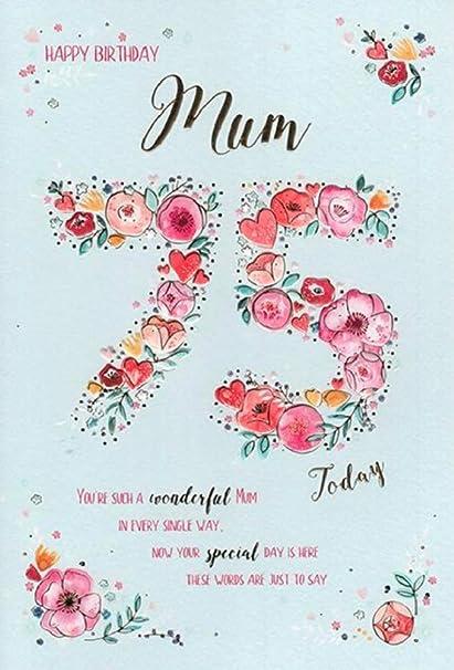 Carte D Anniversaire 75 Ans Pour Femme Amazon Fr Fournitures De Bureau