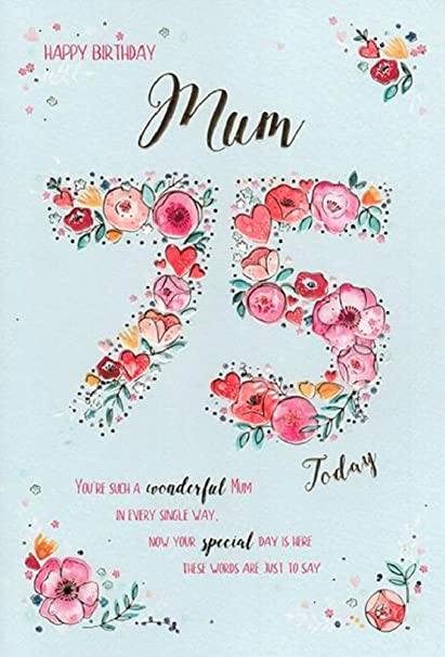 Tarjeta de felicitación de 75 cumpleaños para madre: Amazon ...