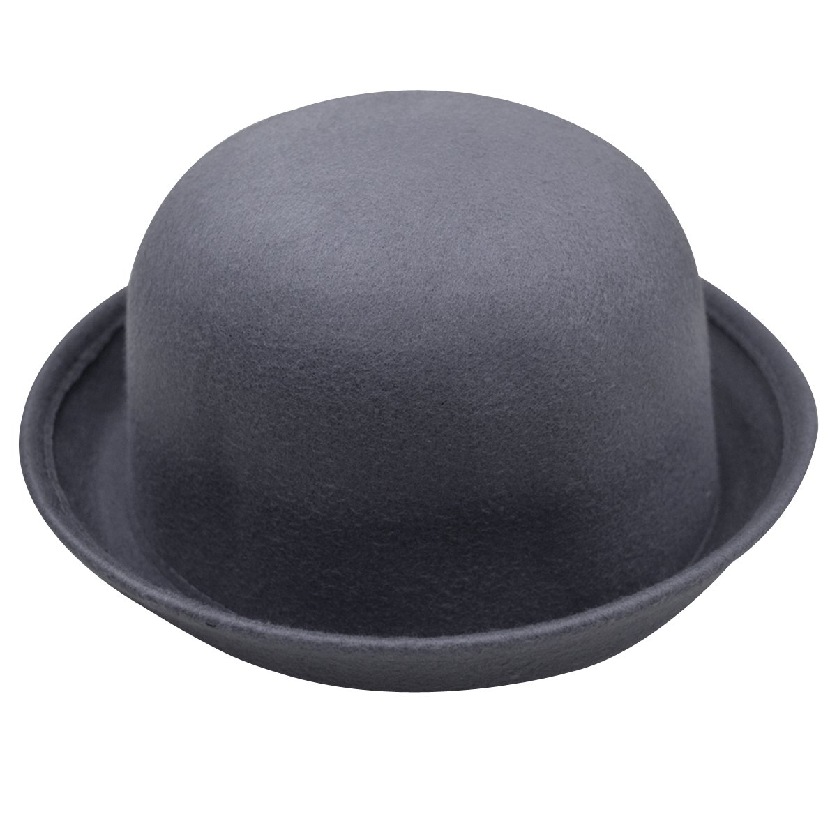 CLARA Women Girls Classic Wool Bowler Hat Round Derby Fedora Bucket Cap