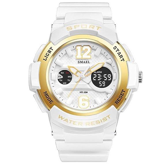 AnazoZ Reloj Deportivo Reloj Mujer Reloj Deportivo Relojes Electronicos Reloj Mujer Quartz Reloj Multifunción Blanco Oro: Amazon.es: Relojes