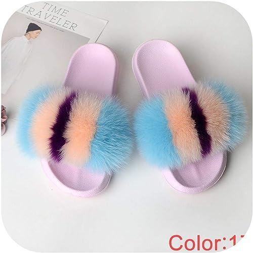 Summer Woman Slides Slippers Flat Non Slip Indoor Flip Flops Furry Beach Sandals,Blue,10
