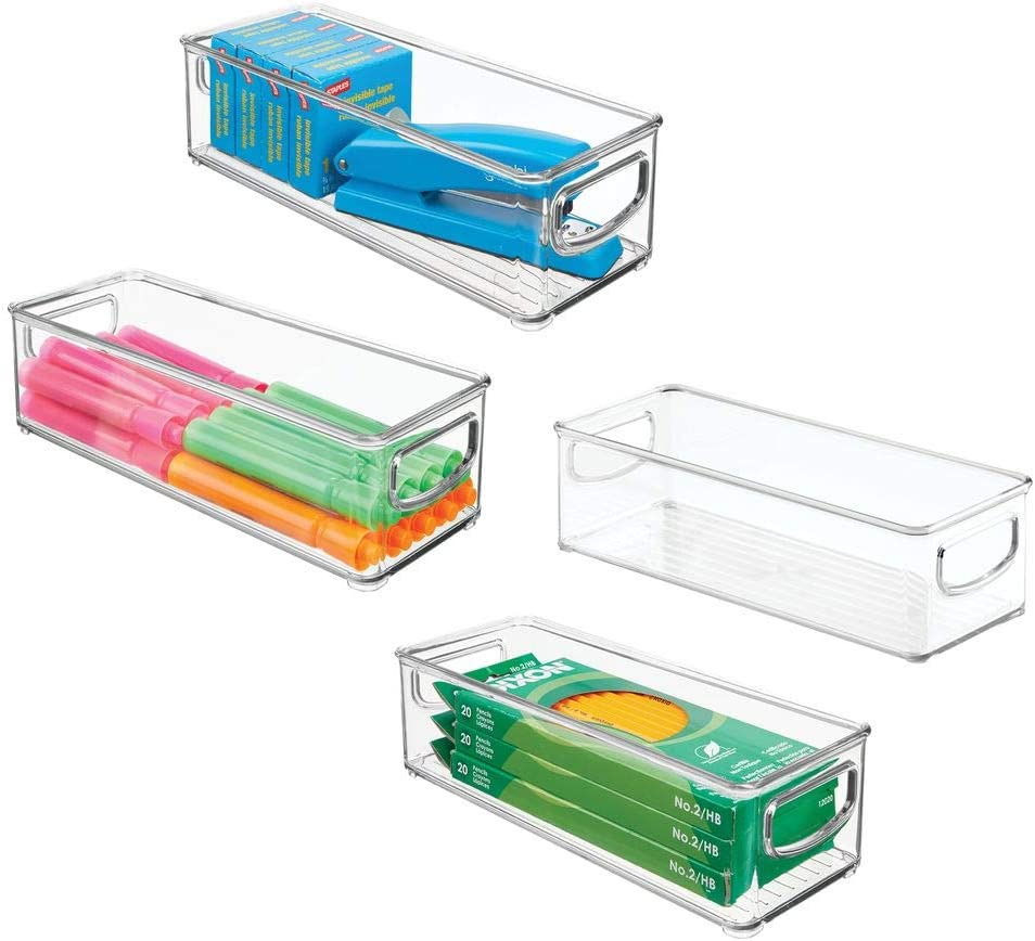 "mDesign Stackable Plastic Office Storage Organizer Container with Handles for Cabinets, Drawers, Desks, Workspace - BPA Free - for Pens, Pencils, Highlighters, Tape - 10"" Long, 4 Pack - Clear"