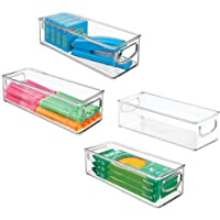mDesign Stackable Plastic Office Storage Organizer Container with Handles for Cabinets, Drawers, Desks, Workspace - BPA…