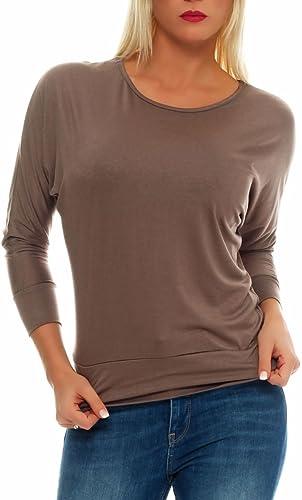 malito Longsleeve Lady-Fit Basic Top Maglietta Maglione Classico Elastico Casual 1368 Donna Taglia U...