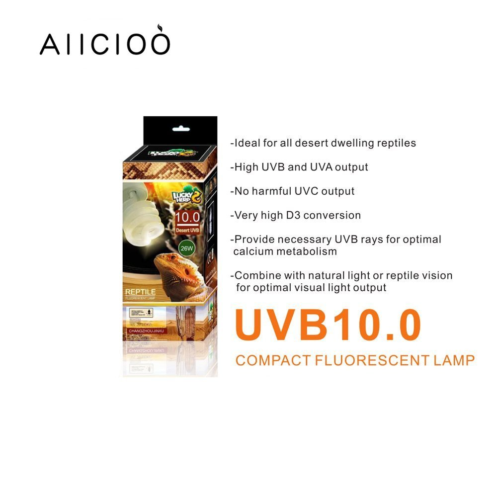 10.0 UVB Bombilla para Repti 26W Desierto Bombilla Fluorescente Compacta para Anfibios Plantas Suculentas Lagarto Tortuga Mejorar la S/íntesis de D3 Aumenta la Absorci/ón de Calcio 220-240V E27