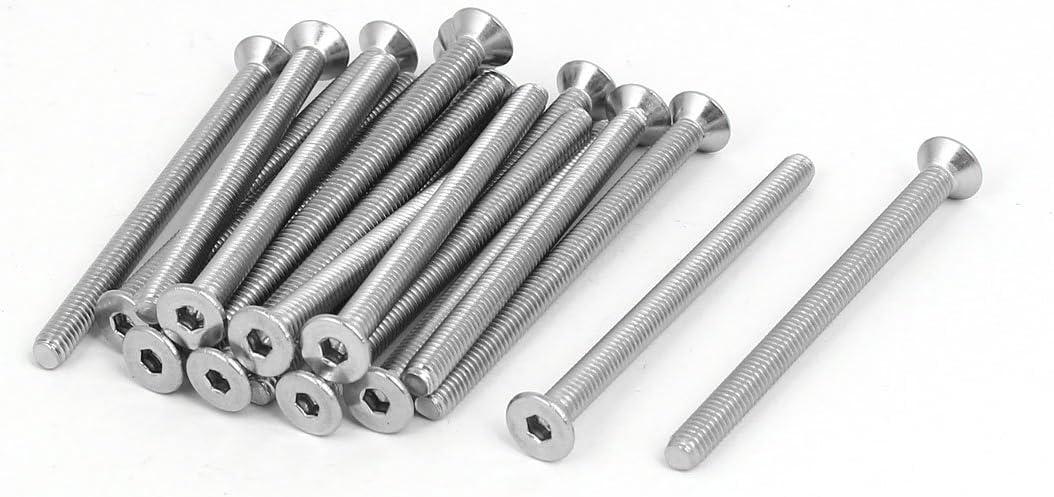 M6x100mm 304 Stainless Steel Flat Head Hex Socket Cap Screws DIN7991 10pcs