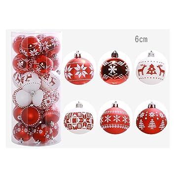 24pcs Boules de Noël Rouge Blanc a Decorer Boule Décoration Extérieur  Intérieur en Plastique pour Sapin Arbre de Noel