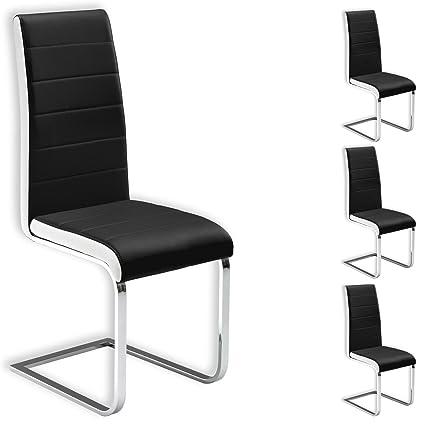 IDIMEX Schwingstuhl Freischwinger Esszimmerstuhl Küchenstuhl Stuhlgruppe Evelyn, 4er Pack, Lederimitat schwarz