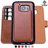 Cheap SHANSHUI Case Compatible Samsung Galaxy S7edge Detachable, RFID Protecting Card Wallet(Brown-S7 Edge)
