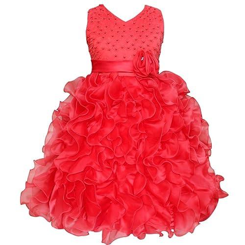 TiaoBug Girls Dress Beading Bodice Cascading Ruffle Wedding Pageant Party Flower Girls Dress