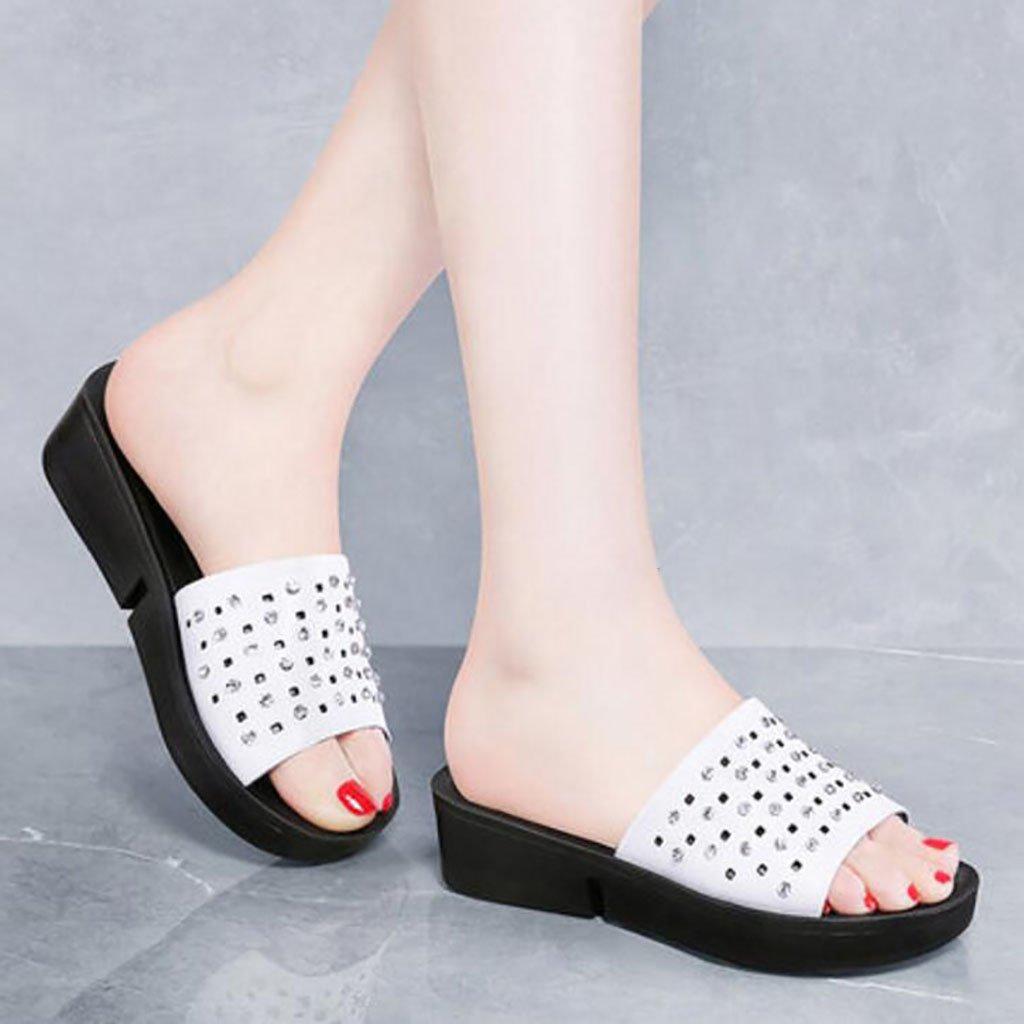 FAFZ Zapatillas de señora de la moda zapatillas de playa antideslizantes zapatillas planas sandalias de uso interior y exterior Sandalias planas,Sandalias de moda (Color : A, Tamaño : 40) 40|A