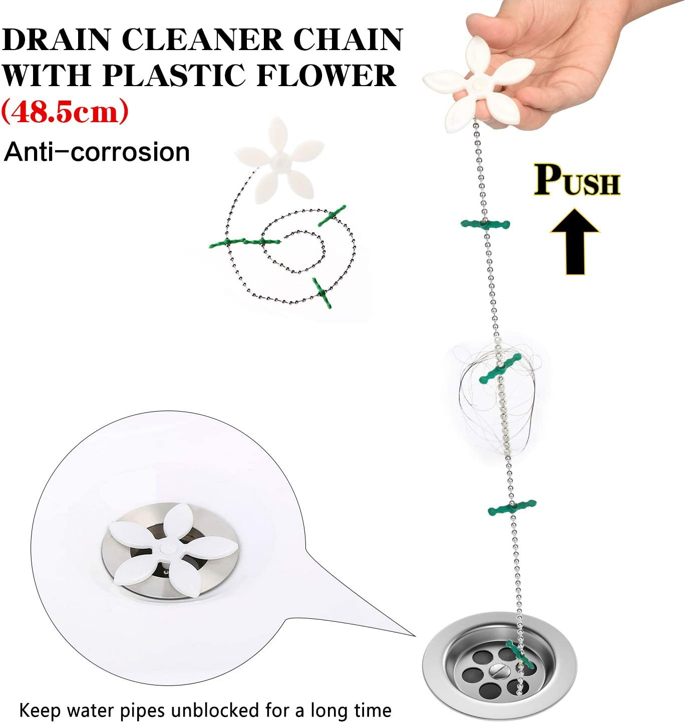 Drado 6 pcs Furet D/éboucheur Outils de Nettoyage en Plastique pour D/éboucher les Cheveux ou D/échets Ideal pour Cuisine//Evier//Baignoire//Canalisation