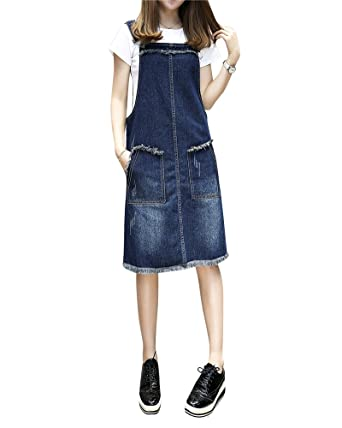 new products ad1a4 dc716 ZiXing Donna Casuale Corto Abito Salopette Jeans Vestito Denim Gonna Overall