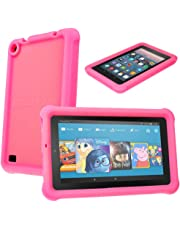 """TECHGEAR Bumper Case fits Amazon Fire 7"""" Alexa (2017 Edition/7th Gen) Rugged Light Weight Shock Proof Soft Silicone Protective Easy Grip Case + Screen Protector [Pink] - Kids & School Friendly Case"""
