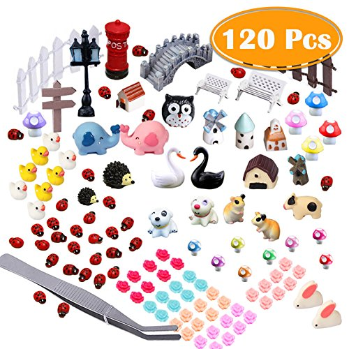 PAXCOO 120 Pcs Fairy Garden Miniature Ornaments Kit for DIY Dollhouse Dcor