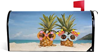 SUABO Pineapple On Beach Mailbox Cover, Standard Size Magnetic Mailbox Cover Wraps for Outside Garden Home Decor
