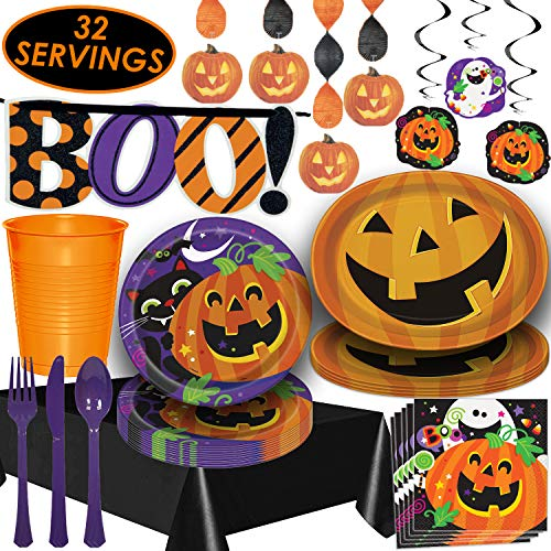 Halloween Tableware and Decorations - 32 Guest - Dinner Plates, Party Cups, Napkins, Cutlery, Tablecloths, Serving Trays, Assorted Hanging Swirls,