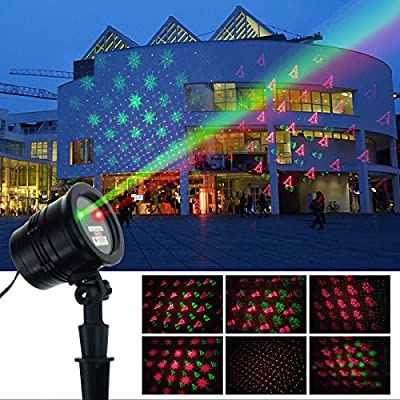 ZHIKE Christmas Projector Lights Green & Red Laser Lights Laser Show Star Light Shower RF Wireless Remote 6 Patterns Outdoor Waterproof Decoration for Garden Decorations