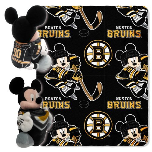 Officially Licensed NHL Boston Bruins ''Ice Warriors'' Co-Branded Disney's Mickey Mouse Hugger and Fleece Throw Blanket Set, 40'' x 50'', Multi Color by The Northwest Company