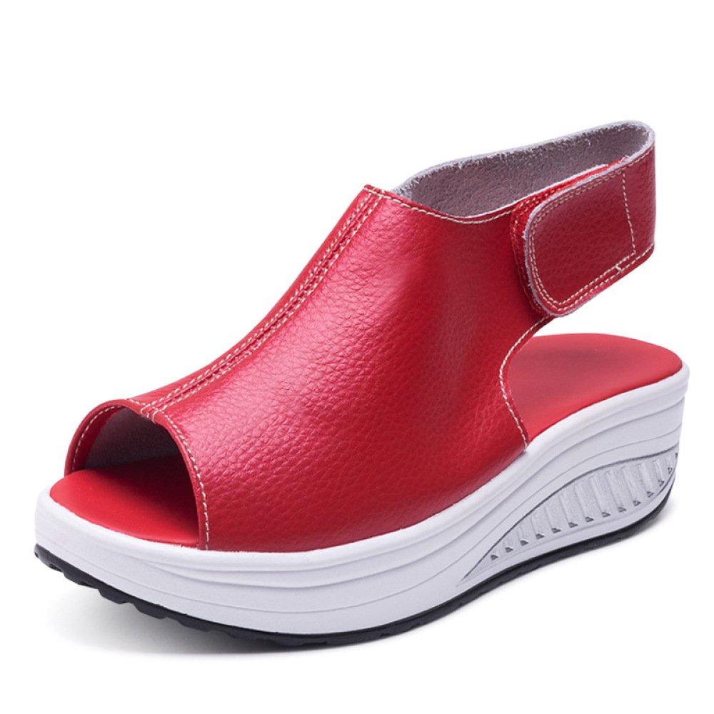 Ximu Sommer Sandalen Weibliche Keilabsatz Fisch Mund Dicken Boden angehoben Sandalen Schuhe 5cm  42 EU|Red