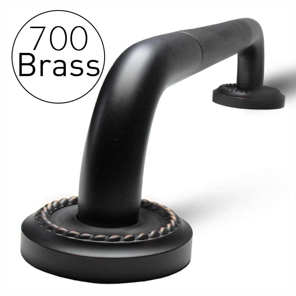 700Brass 18-Inch Grab Bar Featuring Anti-Slip Handrail, Solid Brass, Oil Rubbed Bronze, Heavy-Duty Construction Armrest, Bathroom Bathtube Shower Safety Rail