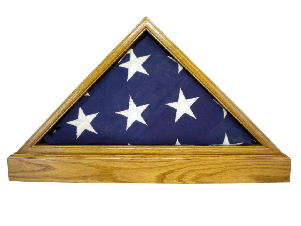 Solid Light Oak Flag Case WITH BASE for 5x9.5' Veteran Burial Flag, USA Made, Fine Furniture Quality by USAFlagCases