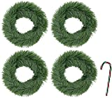 Bundle: 5 Items - (Pack of 4) 15 ft. Potomac Banks Faux Pine Garlands with Free 6'' Candy Cane Ornament (Comes with Free How to Live Stress Free Ebook)