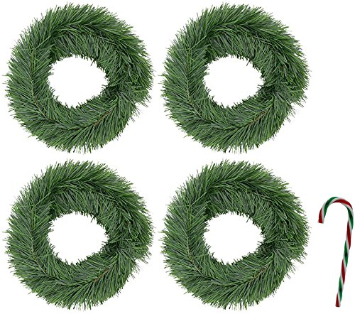 Bundle: 5 Items - (Pack of 4) 15 ft. Potomac Banks Faux Pine Garlands with Free 6'' Candy Cane Ornament (Comes with Free How to Live Stress Free Ebook) by Potomac Banks