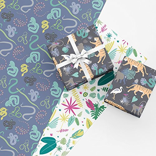 Jungle Gift Wrap Collection, 9 Rolled Sheets of Wrapping Paper with Tigers, Snakes, and Monkeys, Made in America by REVEL & Co