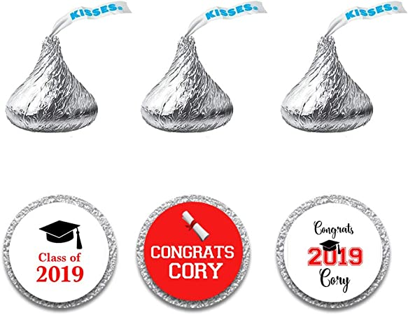 Personalized Hershey Kiss Graduation Stickers 108 labels Graduation Cap Teal