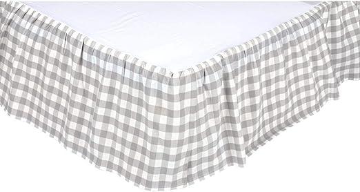 King Grey VHC Brands Farmhouse Annie Buffalo Check White Bed Skirt