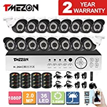 TMEZON 16CH AHD 1080P DVR Digital Video Recorder + 16x 1080P 2.0MP 2000TVL Outdoor Night Vision Bullet Camera Security Kit(No HDD)