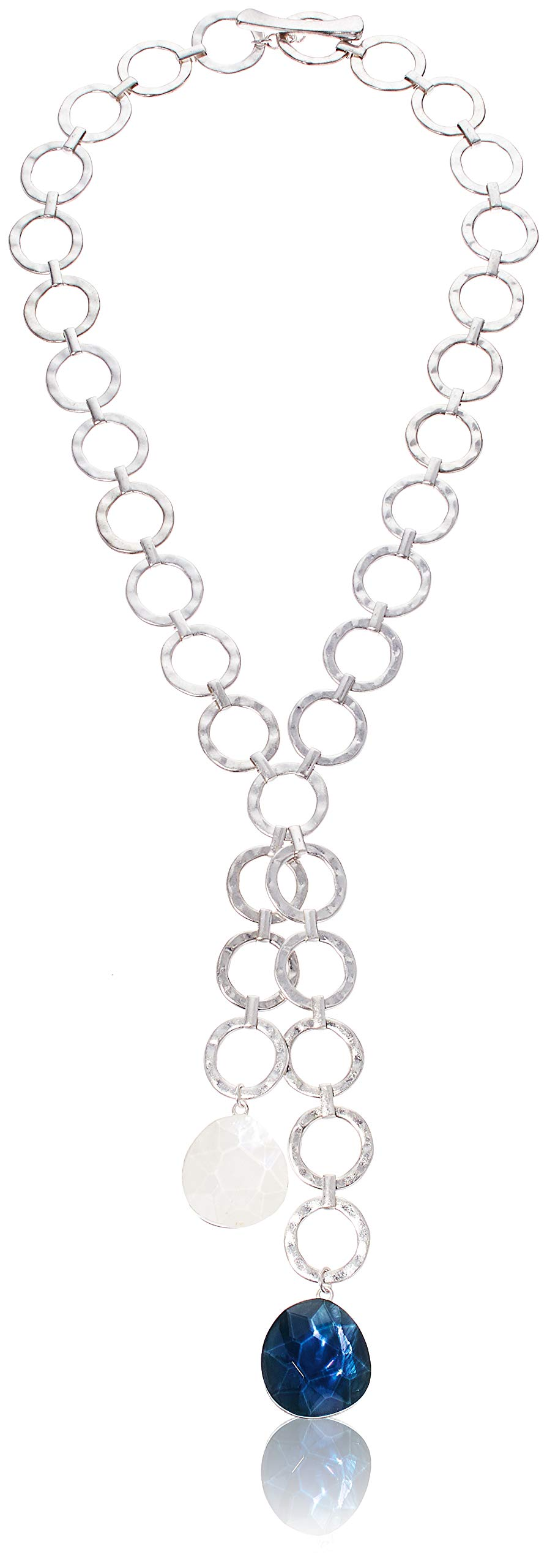 Robert Lee Morris Women's Stone Hammered Circle Link Y-Shaped Necklace, Blue, One Size by Robert Lee Morris