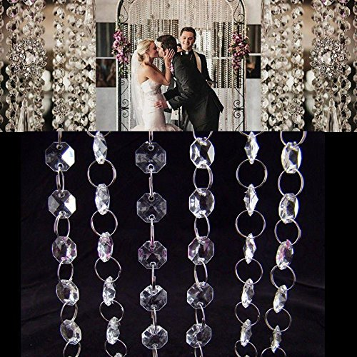 Fashionclubs 33ft Acrylic Clear Diamond Garland Strands Crystal Beads Chain For Christmas/Wedding Decoration
