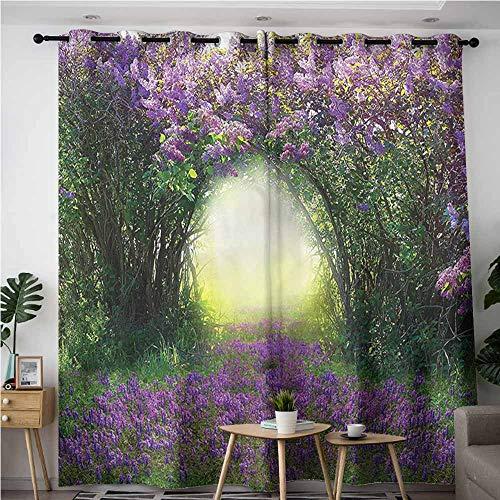 XXANS Blackout Curtains,Garden,Magic Misty Forest Spring,Blackout Window Curtain 2 Panel,W108x108L