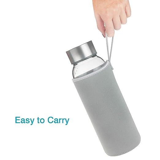 FCSDETAIL Botella de Agua de Cristal sin BPA, Botella de Agua de Vidrio de Borosilicato con Funda de Neopreno y Tapa de Acero Inoxidable 1000ml: Amazon.es: ...